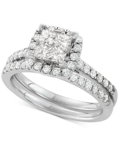 Diamond Square Halo Bridal Set (1-1/4 ct. t.w.) in 14k White Gold