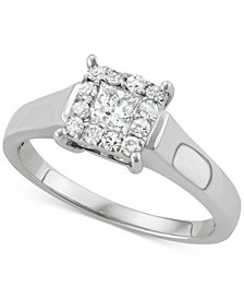 Diamond Square Halo Diamond Ring (1/2 ct. t.w.) in 14k White Gold