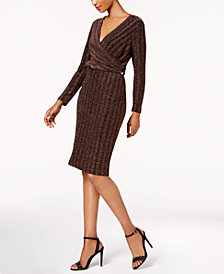 sangria Petite Faux-Wrap Metallic Dress