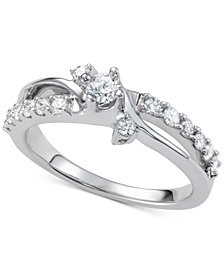 Diamond Swirl Engagement Ring (7/8 ct. t.w.) in 14k White Gold