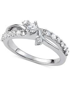 Diamond Swirl Engagement Ring (7/8 ct. t.w.) in 14k White Gold