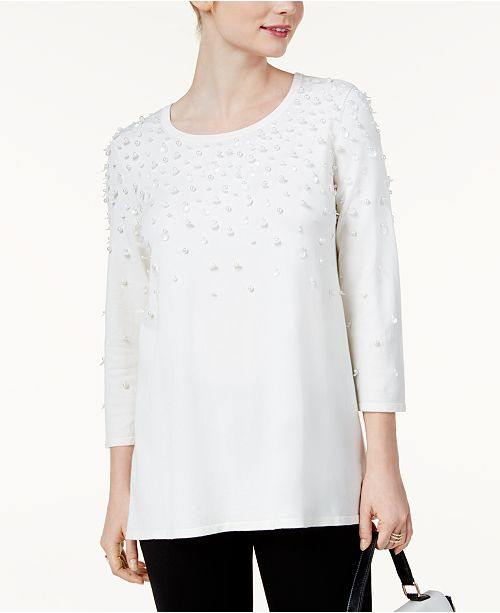Alfani Embellished Swing Sweater, Created for Macy's