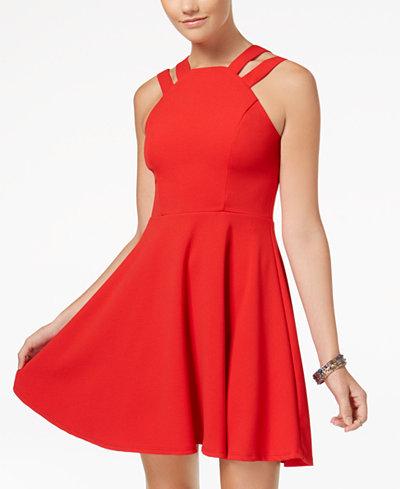 B Darlin' Juniors' Double-Strap Fit & Flare Dress