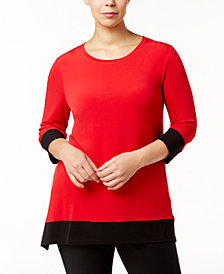 Calvin Klein Plus Size Colorblocked Handkerchief-Hem Tunic