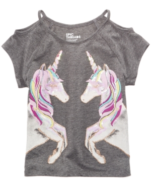 Epic Threads Unicorn Cold Shoulder TShirt Little Girls Created for Macys