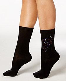 HUE® Women's Rhinestone Cluster Socks