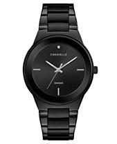 Caravelle Men s Diamond-Accent Black Stainless Steel Bracelet Watch 40mm 12c29b2103aa3