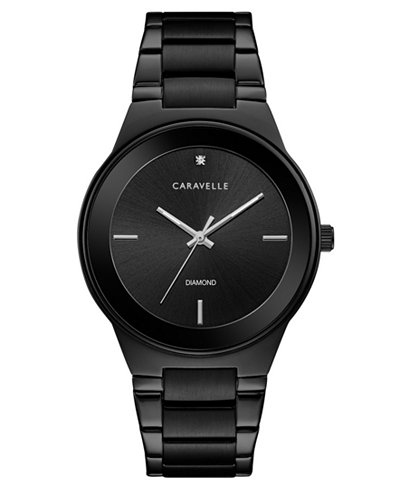 Caravelle Men's Diamond-Accent Black Stainless Steel Bracelet Watch 40mm