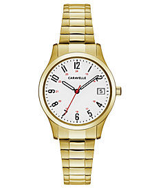 Caravelle Women's Gold-Tone Stainless Steel Bracelet Watch 30mm