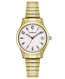 Caravelle Designed by Bulova  Women's Gold-Tone Stainless Steel Bracelet Watch 30mm