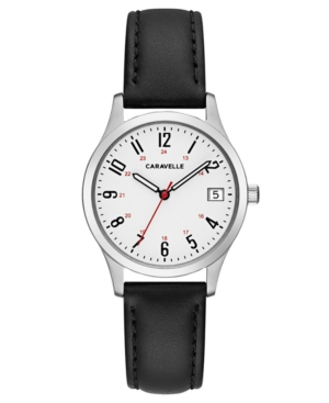 Designed by Bulova Women's Black Leather Strap Watch 30mm