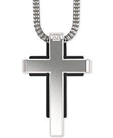 Men's Diamond Accent Cross Pendant Necklace in Stainless Steel and Black Ion-Plate