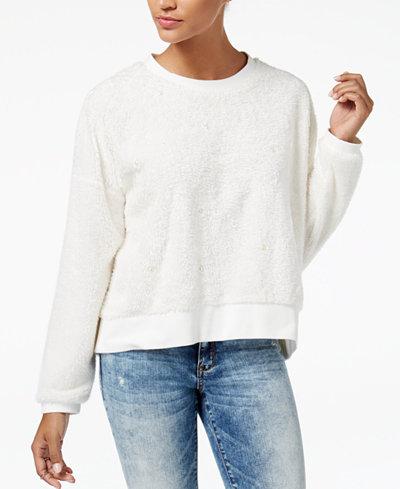 American Rag Juniors' Embellished Faux-Fur Sweatshirt, Created for Macy's