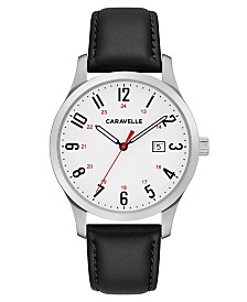 Caravelle Designed by Bulova  Men's Black Leather Strap Watch 40mm