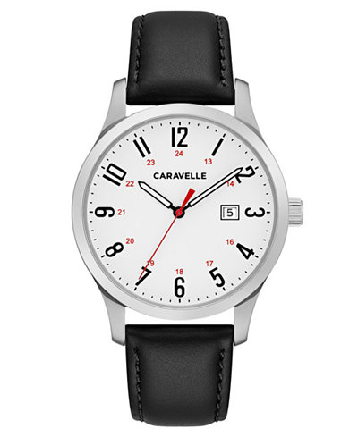 Caravelle Men's Black Leather Strap Watch 40mm