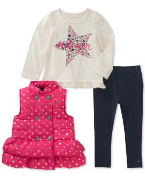 Tommy Hilfiger 3Pc Vest LongSleeve TShirt  Denim Leggings Set Little Girls (46X)