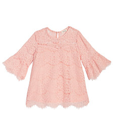 Monteau Lace Bell-Sleeve Top, Big Girls
