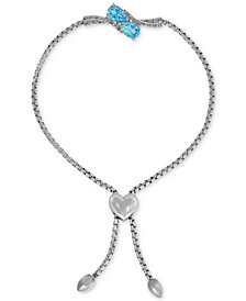 Swiss Blue Topaz (1-1/2 ct. t.w.) & Diamond Accent Slider Bracelet with Heart Bolo in Sterling Silver