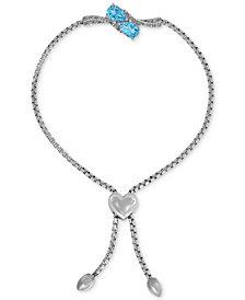 Swiss Blue Topaz (1-1/2 ct. t.w.) & Diamond Accent Slider Bracelet with Heart Bolo in Sterling Silver