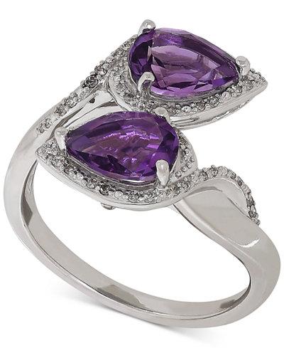 Amethyst (1-9/10 ct. t.w.) & Diamond (1/8 ct. t.w.) Ring in Sterling Silver