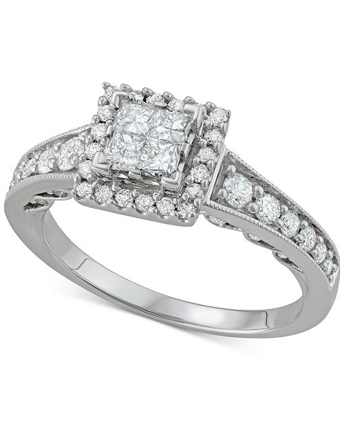 Macy's Diamond Quad Halo Engagement Ring (1 ct. t.w.) in 14k White Gold