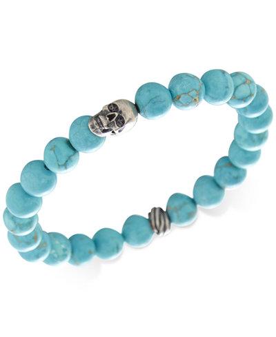 DEGS & SAL Men's Manufactured Turquoise Skull Bracelet in Sterling Silver (Also in Tiger's Eye, Lava Rock & Onyx)