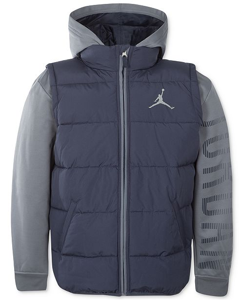 0f11fb4e9337 Jordan AJ Hooded Layered-Look Puffer Vest Jacket