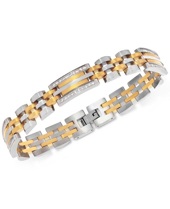 Macy's Men's Diamond Two-Tone Link Bracelet (1/2 ct. t.w.) in Stainless Steel and Yellow Ion-Plate