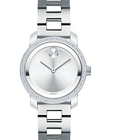 Movado Women's Swiss BOLD Diamond (1/3 ct. t.w.) Stainless Steel Bracelet Watch 30mm