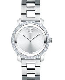 Movado Women's Swiss BOLD Diamond (1/3 ct. t.w.) Stainless Steel Bracelet Watch 30mm
