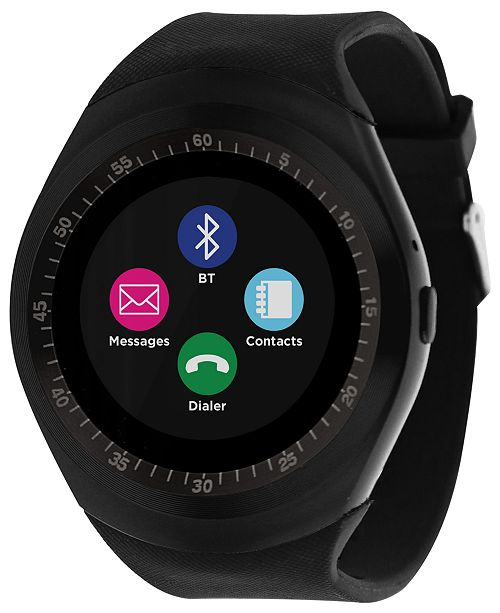 iTouch Unisex Curve Black Silicone Strap Touchscreen Smart Watch 44mm
