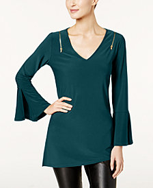 Love Scarlett Petite Zipper-Trim Bell-Sleeve Tunic, Created for Macy's