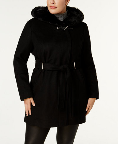 Calvin Klein Plus Size Faux-Fur-Collar Belted Hardware Coat