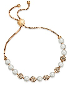 Charter Club Pavé & Imitation Pearl Slider Bracelet, Created for Macy's