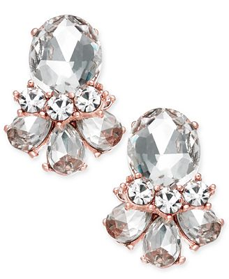 Charter Club Rose Gold-Tone Crystal Cluster Stud Earrings, Created for Macy's