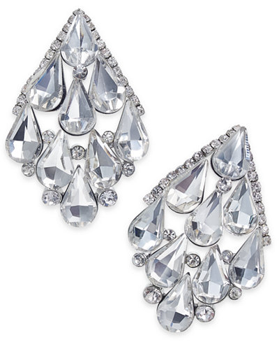 Thalia Sodi Silver-Tone Crystal Chandelier Earrings, Created for Macy's