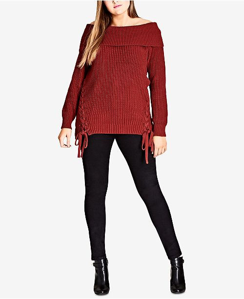 City Chic Trendy Plus Size Off-The-Shoulder Lace-Up Sweater