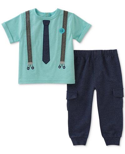 Calvin Klein 2-Pc. Tie T-Shirt & Cargo Pants Set, Baby Boys
