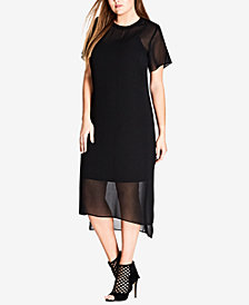 City Chic Trendy Plus Size High-Low Hem Shift Dress