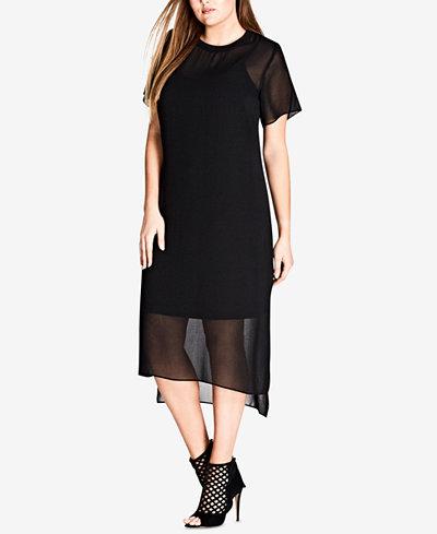 City Chic Trendy Plus Size High-Low Hem Shift Dress