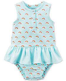 Carter's Rainbow-Print Cotton Ruffle Romper, Baby Girls