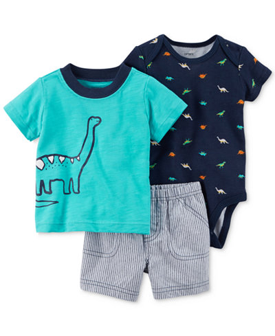 Carter's 3-Pc. Cotton Dinosaur T-Shirt, Printed Bodysuit & Shorts Set, Baby Boys