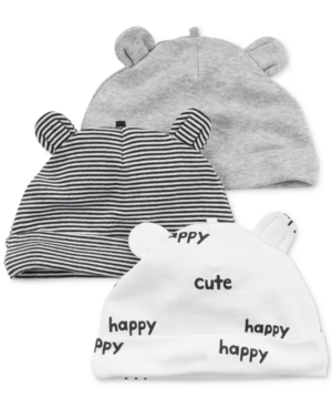 Carters 3Pk Animal Ear Cotton Hats Baby Boys (024 months)