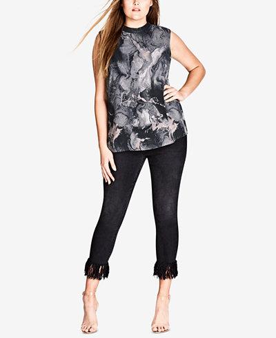 City Chic Trendy Plus Size Faux-Leather-Trim Top