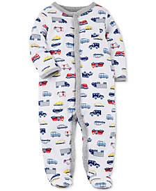 Carter's Baby Boys Transportation-Print Cotton Footed Coverall