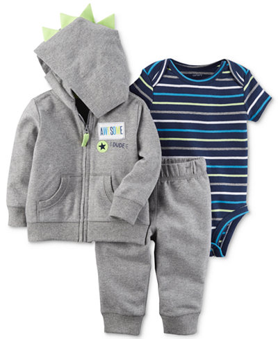 Carter's 3-Pc. Hoodie, Jogger Pants & Bodysuit Cotton Set, Baby Boys