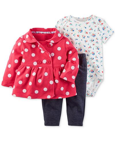 Carter's 3-Pc. Dot-Print Jacket, Floral-Print Bodysuit & Denim Leggings Set, Baby Girls