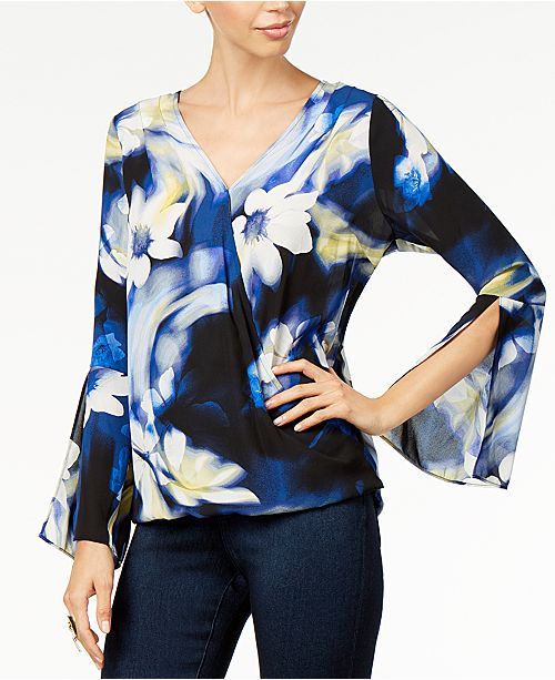 Thalia Sodi Printed Bell-Sleeve Top, Created For Macy's