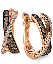 Le Vian Diamond Chocolate Diamond and White Diamond Crisscross Hoop  (1 ct. t.w.) in 14k Rose Gold