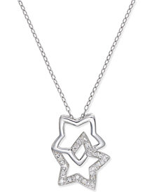 Diamond Double Star Pendant Necklace (1/10 ct. t.w.) in Sterling Silver